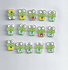 10 Pcs Cute Animal Frog Wood Sewing Buttons Scrapbook 22x17mm (194)
