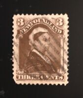 Stamps Canada Newfoundland SC52 3c violet brown QV of 1896-see description