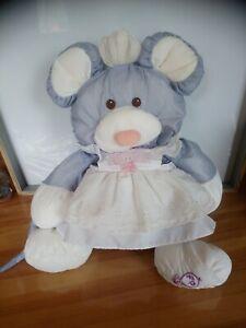 Peluche doudou souris bleu gris robe blanche Puffalump Fisher-price vintage