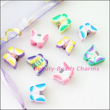 30Pcs Mixed Handmade Polymer Fimo Clay Butterfly Flat Spacer Beads Charms 8x10mm