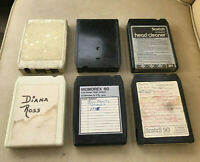 Lot (6) Mixed 8 Track Tapes - Recorded / Blank / Missing Sticker & Head Cleaner