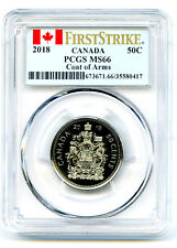 2018 CANADA 50 CENT PCGS MS66 FIRST STRIKE COAT OF ARMS HALF DOLLAR !!