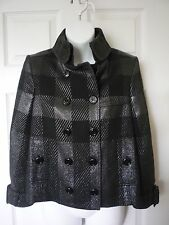 Burberry Women's Size 6 Medium Cropped Check Metallic Jacket Black Gray Rg $1495