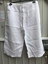Laura Ashley Size 14 100% White Linen 3/4 Trousers