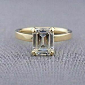 14k Yellow Gold 1.50 ct Emerald Cut Diamond Engagement Wedding Anniversary  Ring