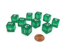 Pack of 10 Transparent 6-Sided D6 16mm Numbered Dice - Green
