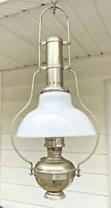 Rare 1913 Antique Aladdin No.5 Hanging Oil Lamp - Nickel-Plated - NICE!
