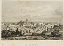 OUTHWAITE; NOEL, Blick von den Feldern auf die Stadt St. Brieuc,  19. Jh., Stahl