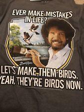 Bob Ross Men's KO Vintage TV Painter Grey T-Shirt Size XL Mistakes Into Birds