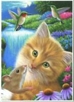 ACEO ORANGE TABBY CAT KITTEN HUGS MOUSE HUMMINGBIRDS WATERFALL ECHINACEA PRINT