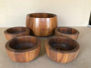 Dansk Wooden Bowl Set 9 inch Tulip Serving Bowl &(4) 6 inch Salad Bowls Lot of 5
