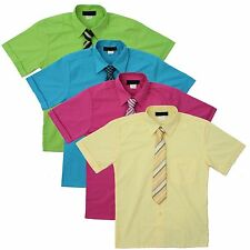 Boy's Short Sleeve Dress Shirt with Tie Set  Sizes 2T to 14