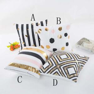 Gold Foil Printing Striped Dot Pillow Case Sofa Throw Cushion Cover Home Decor