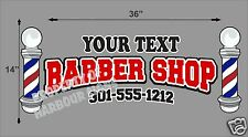 "Custom Barber Shop Decal 36"" Men's Hair Cuts Vinyl Sign Window Storefront"