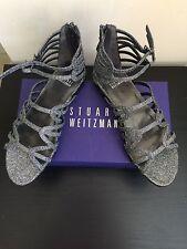 NIB $398 Stuart Weitzman Athens Metallic Gladiator Sandal Pewter Size 7.5
