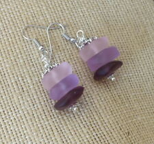 & Pink - Fashion Beach Shell Bwt- Sea Glass Princess Earrings, Ln514- Purple