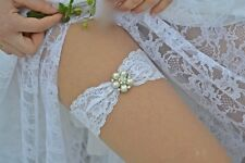 Wedding Keepsake Garter - wedding garter Crystal Rhinestone-WHITE or IVORY  lace