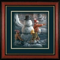 Winter Wonderland Snowman By Terry Redlin Companion Framed Print