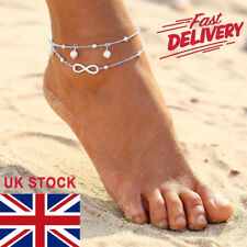 Fashion Ankle Bracelet 925 Sterling Silver Foot Anklet Chain Boho Beach Beads UK