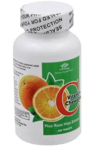 Nu Health Chewable Vitamin C 500 mg - 1000mg Tablets + Rose Hip Extract USA