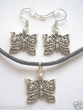 Mariposa Con Forma De que Oscuro Colgante De Plata Negro Cable De Collar Y Aretes