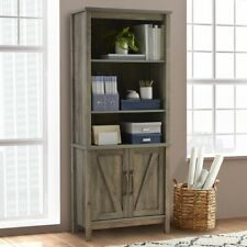 Better Homes & Gardens Modern Farmhouse Library Bookcase With  Doors Rustic Gray