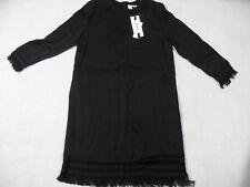 DKNY schönes leichtes Kleid mit Fransenabschluss schwarz Gr. 6 NEU KW918