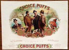 Choice Puffs Original Antique Cigar Box Label Art OL Schwencke Stone Lithograph