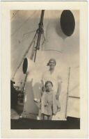 1920s Happy Mom & Toddler with Ball on Steamship Real Photo Postcard