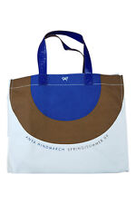 *ANYA HINDMARCH* LEATHER AND CANVAS BLUE BROWN WHITE SHOPPER BAG