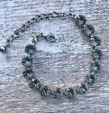 Crystal Bracelet Rhodium Plate Made With Swarovski Elements Black Diamond Grey