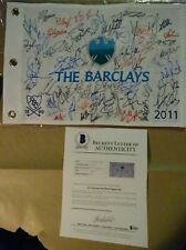 SIGNED 2011 THE BARCLAYS PGA GOLF FLAG AUTOGRAPHED By 59 BECKETT BAS LOA