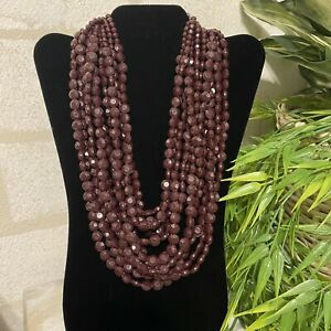 C1946 11-Strand Faceted Lucite Bead Deep Chocolate Statement Necklace