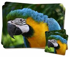 Blue+Gold Macaw Parrot Twin 2x Placemats+2x Coasters Set in Gift Box, AB-PA10PC