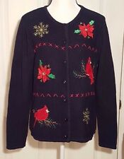 Classic Elements Christmas Sweater Womens Large Black Holly Snowflakes Cardinals