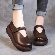 Platform Retro Ethnic Leather Wedge Med Heel Womens Pump Shoes Leisure Buckles 8