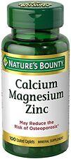 Nature's Bounty Calcium Magnesium Zinc Caplets 100 Caplets Each