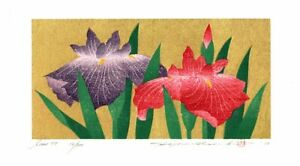 Hajime Namiki 2010 woodblock print Iris-77 20 x 10 cm