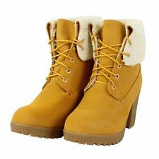 Patternless Block Heel Synthetic Leather Boots for Women