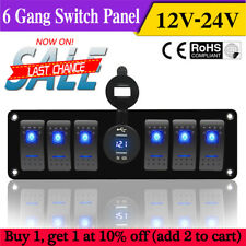 6 Gang Rocker Switch Panel Breaker Blue LED Voltmeter RV Car Marine Boat 12V-24V