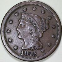 1845  Braided Hair  Large Cent - ** VF+ **