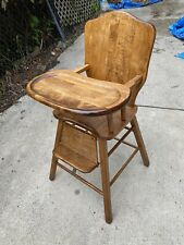 Very Cute Refinished Vintage Wooden Baby Feeding High Chair & Removable Tray