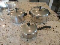 6 piece VINTAGE Farberware Aluminum Stainless Steel Set 6, 4, 2 Qt Pots & Lids