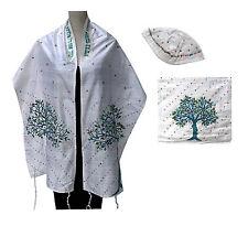 Tallit, Bag, Kippah Atara,Turquoise/Green, Beads&Embroidery Tree of Life, ISRAEL