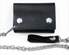 BLACK GENUINE LEATHER Biker Wallet ID Card Holder Chain ID Window NR