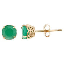 .96CT EMERALD STUD EARRINGS EAR RINGS 5mm ROUND 14KT YELLOW GOLD MAY BIRTH STONE
