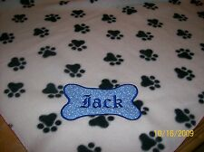 Pet Dog Cat Fleece Blanket Personalized Handcrafted 40x40 in medium white w/paws
