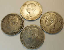 Lot of 4 old Spain Silver  5 Pesetas 1871 1876 1888 1898  Very Nice coins!!!