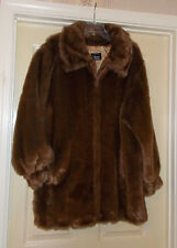 Women's Plus Size 1X Dennis Basso Chocolate Brown Faux Fur Coat + Storage Bag
