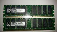Kingston Arbeitsspeicher 2 GB DDR 1 Ram 400 Mhz KVR400X64C3A/1G 2 X 1 GB 2048 MB
